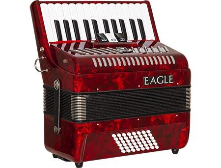 acordeom 48 baixos 3 registros eagle ega0348 prd vermelho perolizado frontal