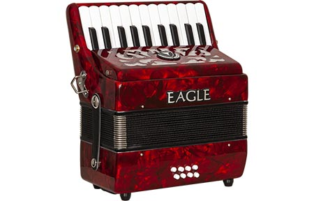 acordeom 8 baixos eagle ega8b prd vermelho perolizado frontal
