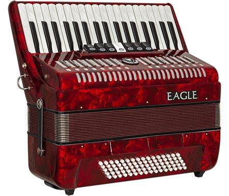 acordeom 80 baixos 7 registros eagle ega0780 prd vermelho perolizado frontal