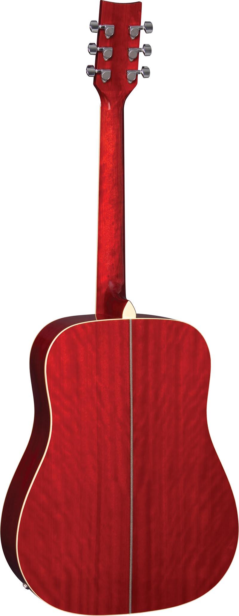 ch887 violao folk dreadnought eagle ch887 rds vermelho sunburst visao posterior vertical
