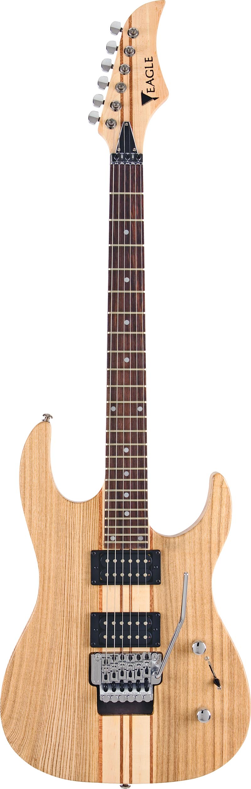 egt61 guitarra eletrica captador humbucker corpo inteirico floyd rose eagle egt61 nt natural visao frontal vertical
