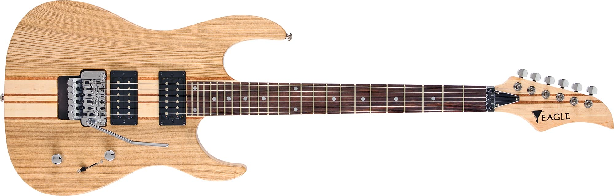 egt61 guitarra eletrica captador humbucker corpo inteirico floyd rose eagle egt61 nt natural visao frontal