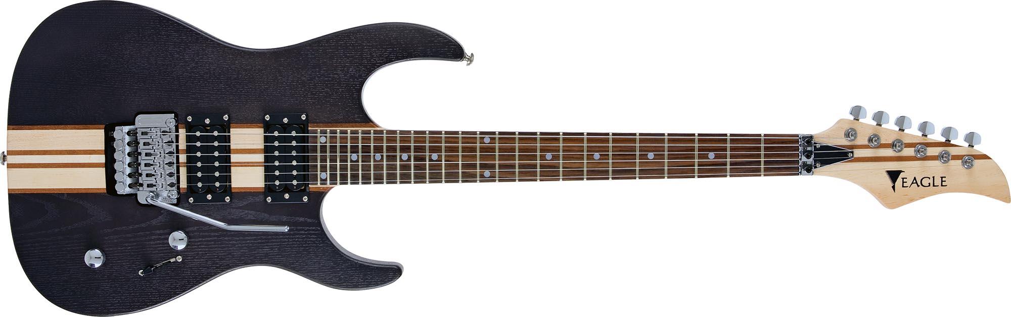 egt61 guitarra eletrica captador humbucker corpo inteirico floyd rose eagle egt61 tbk preta visao frontal