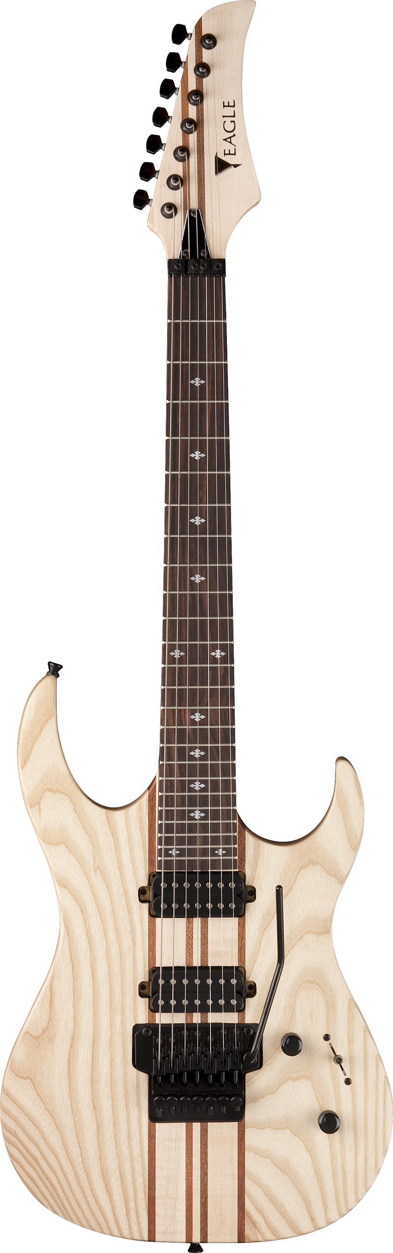 egt66 guitarra eletrica 7 cordas eagle egt66 stnt natural acetinado visao frontal vertical