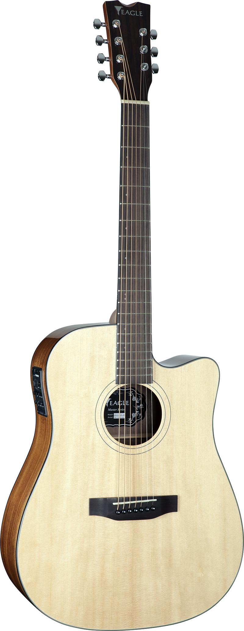 emd477ce7 violao 7 cordas folk dreadnought tampo solido eagle emd477ce7 nt natural visao frontal vertical
