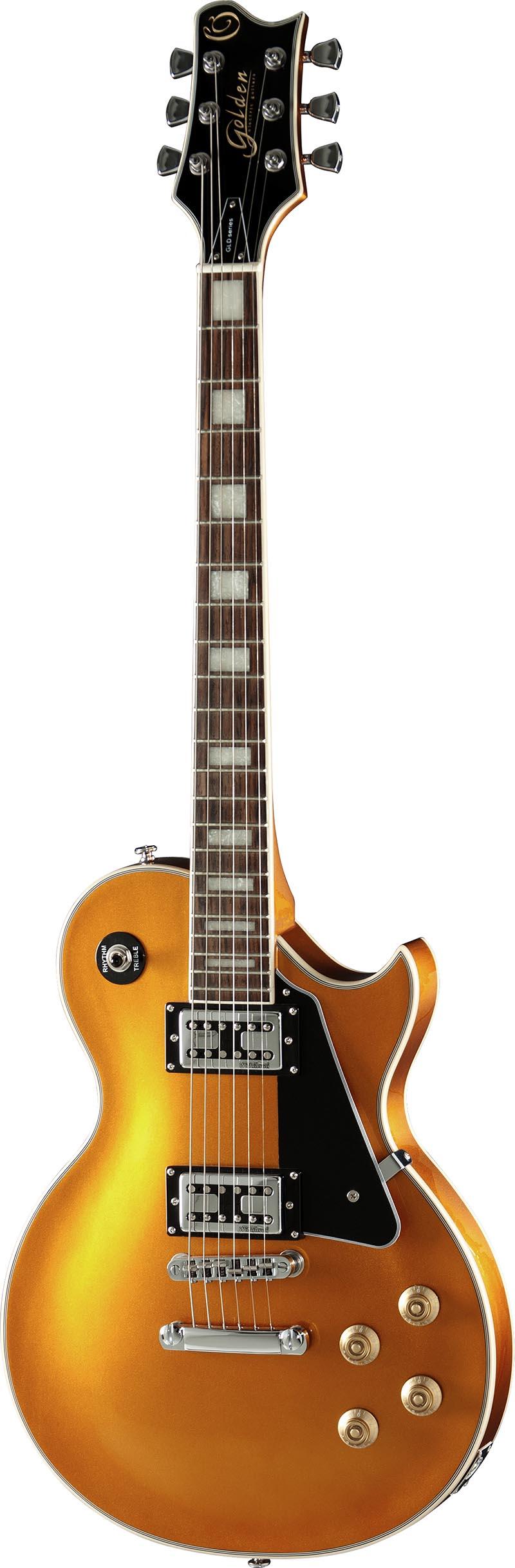 gld152c guitarra eletrica les paul golden gld152c gld goldtop dourada visao frontal vertical
