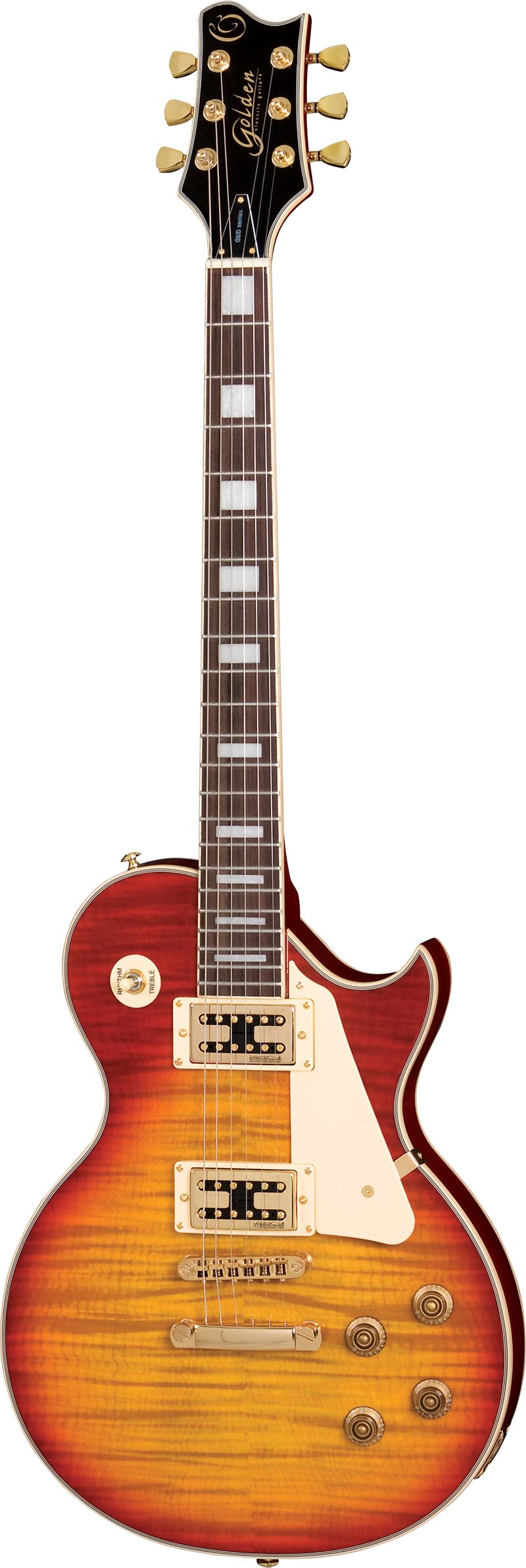 gld155g guitarra eletrica les paul golden gld155g yb yellowburst visao frontal vertical
