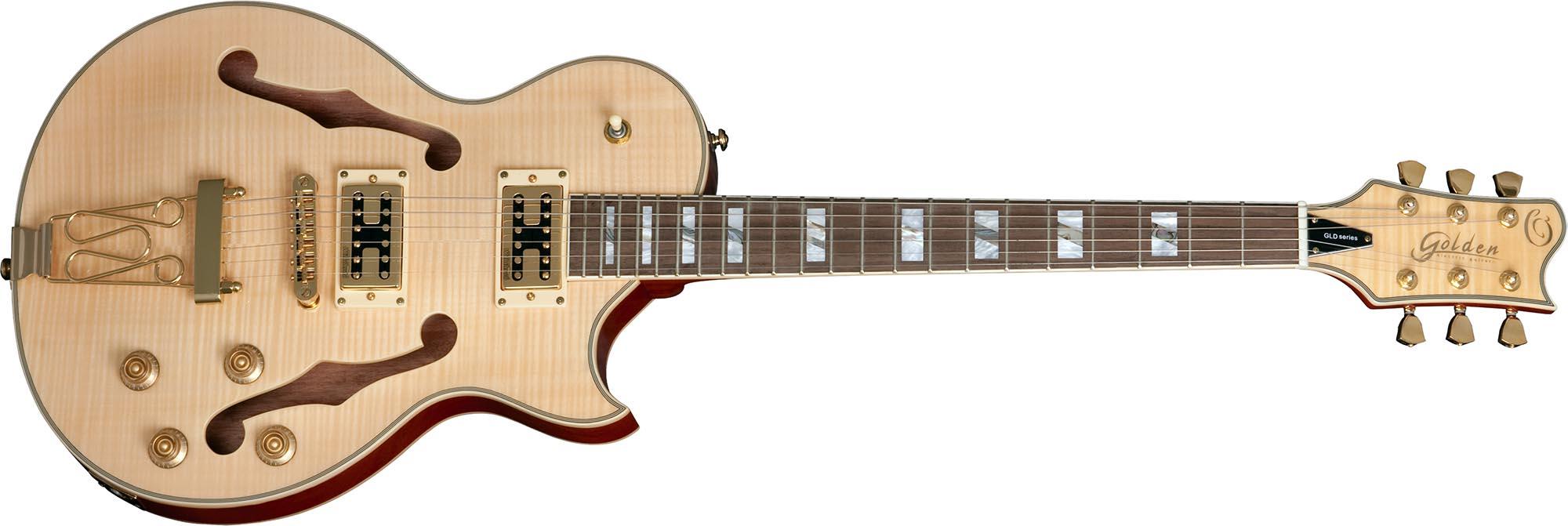 gsh570 guitarra eletrica les paul hollow body golden gsh570 nt natural visao frontal