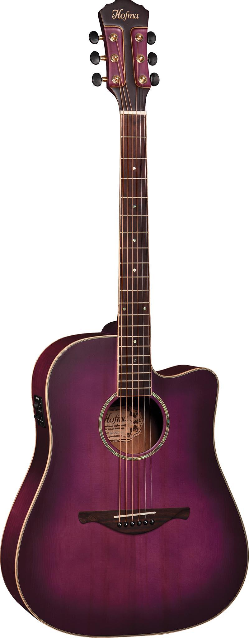 hmp350 violao folk dreadnought eletroacustico tampo solido hofma hmp350 stvs violeta acetinado visao frontal vertical