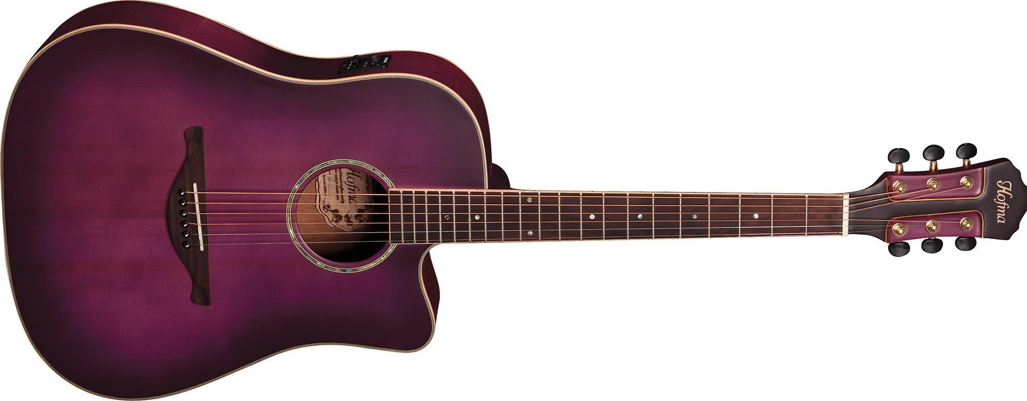 hmp350 violao folk dreadnought eletroacustico tampo solido hofma hmp350 stvs violeta acetinado visao frontal