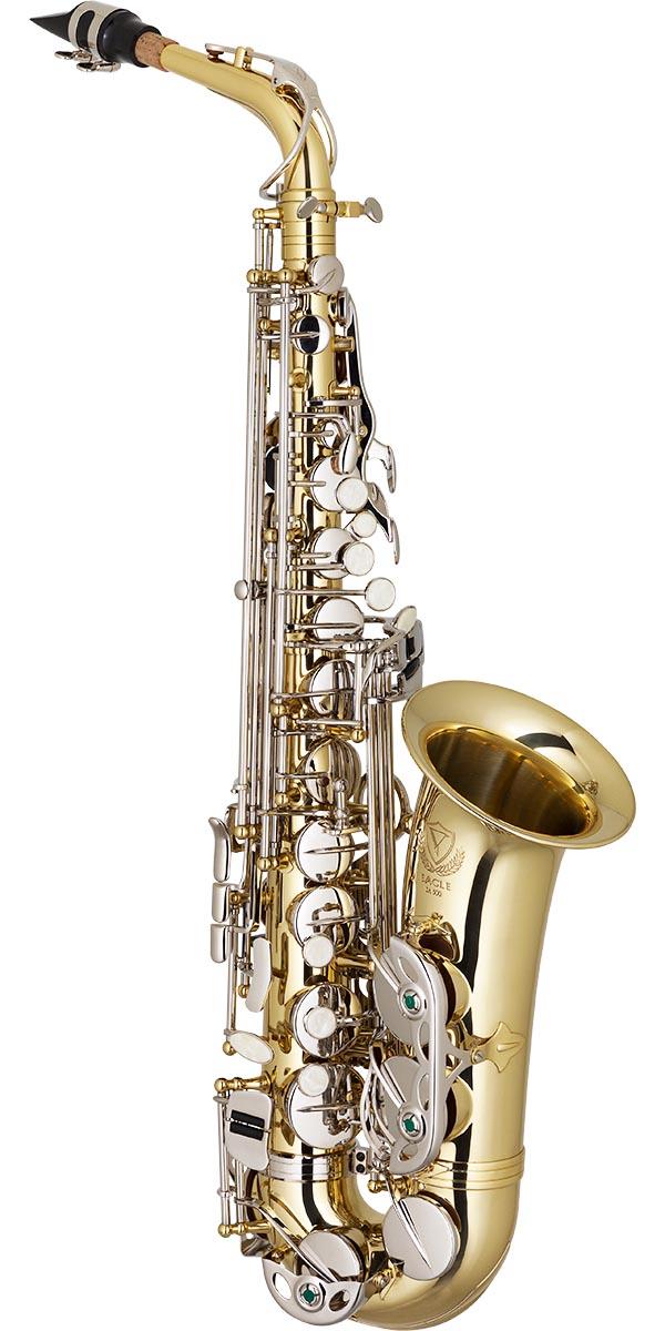 sa500 saxofone alto eagle sa500 ln laqueado dourado chaves niqueladas frontal