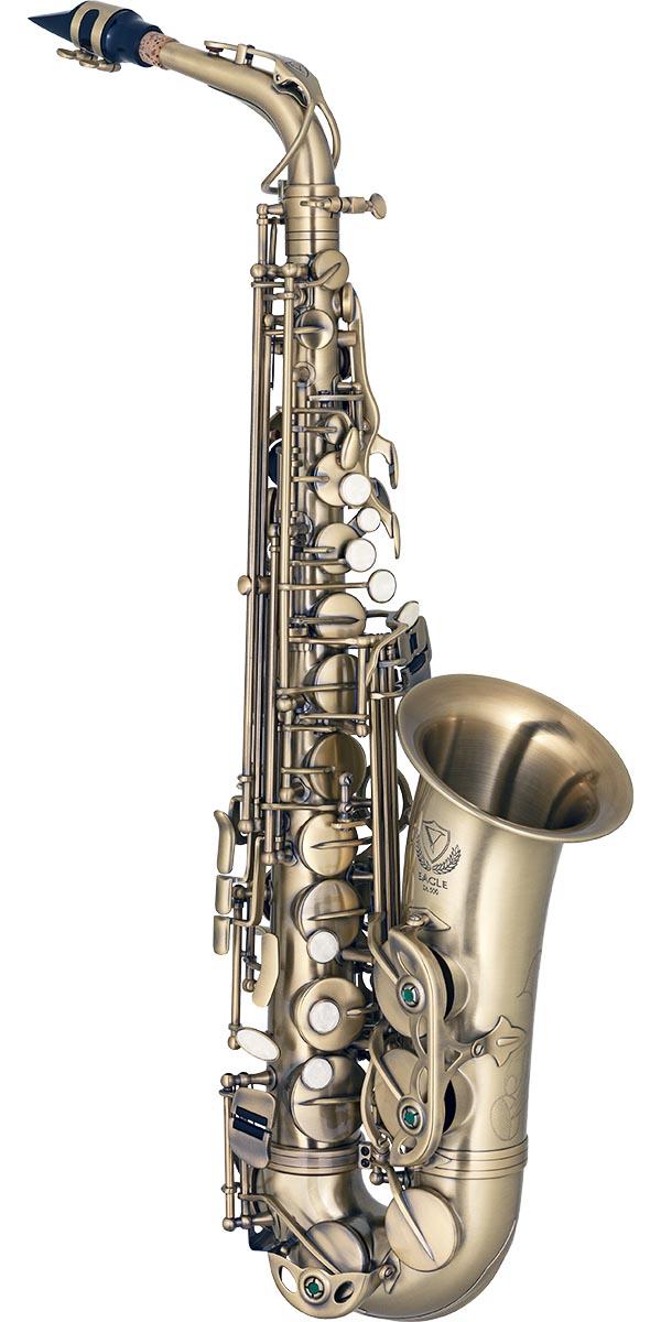 sa500 saxofone alto eagle sa500 vg dourado envelhecido frontal