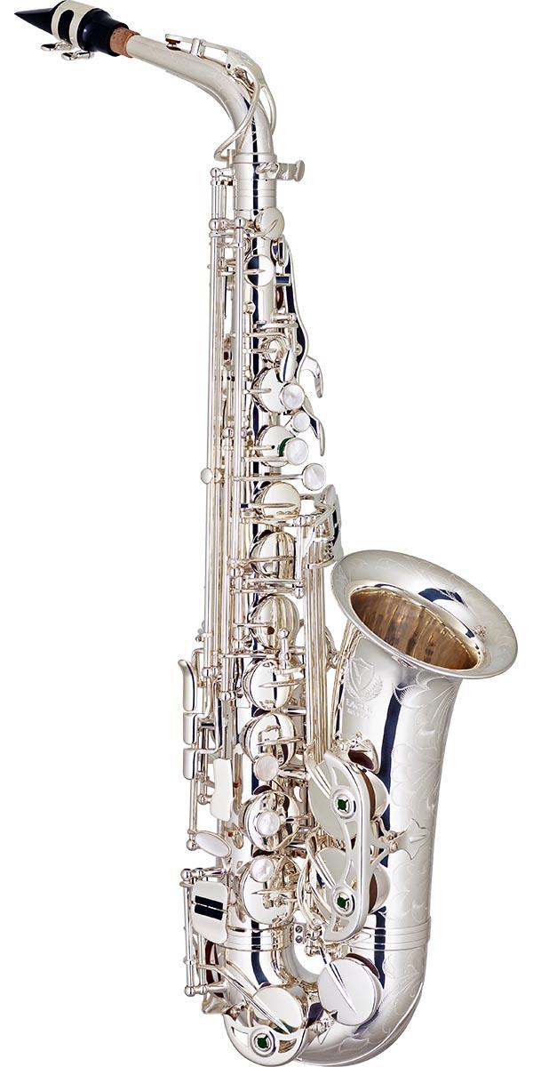 sax510s saxofone alto bronze eagle master series sax510s banhado prata frontal