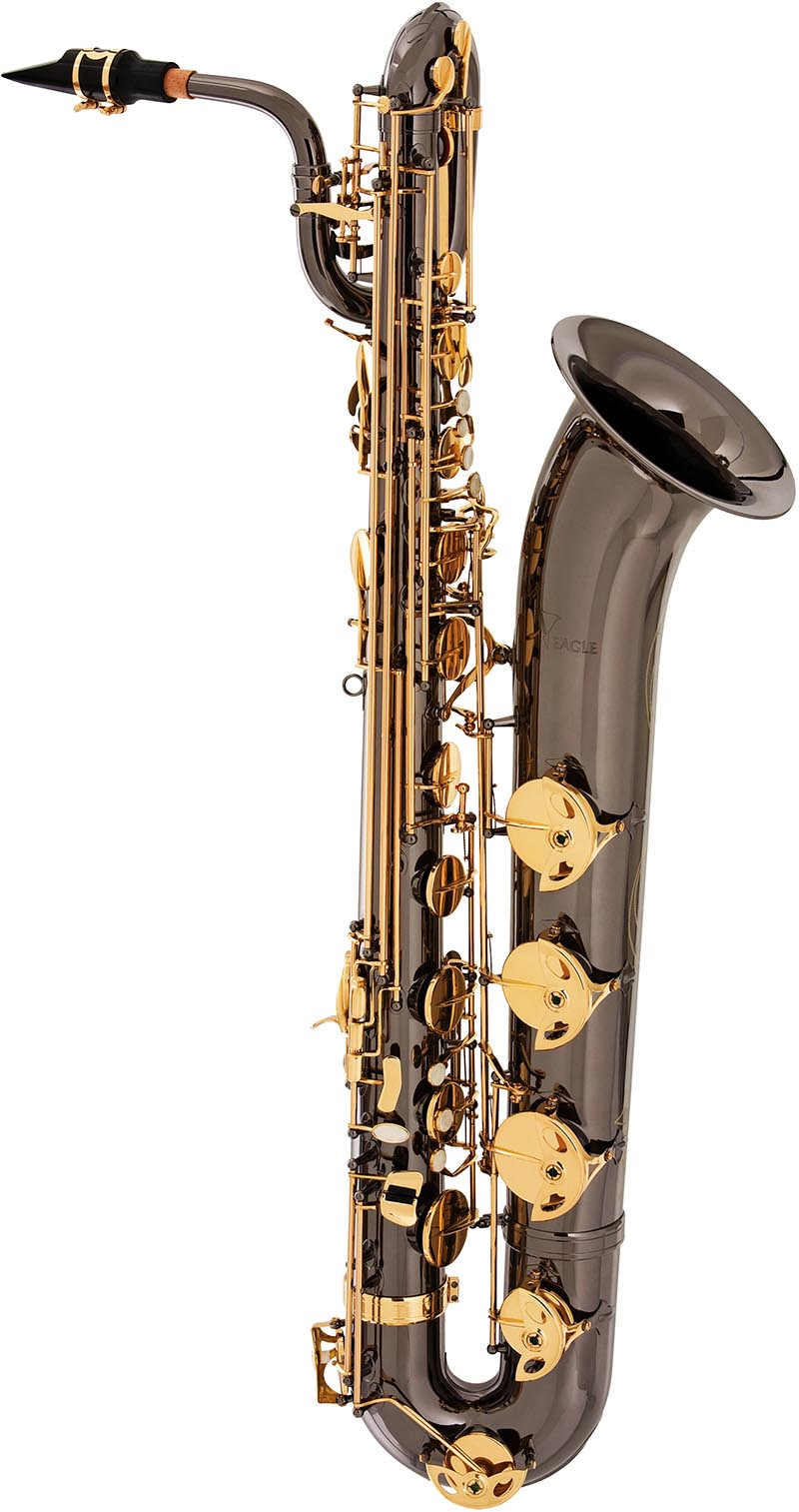 sb506 saxofone baritono eagle sb506 bg black onix preto