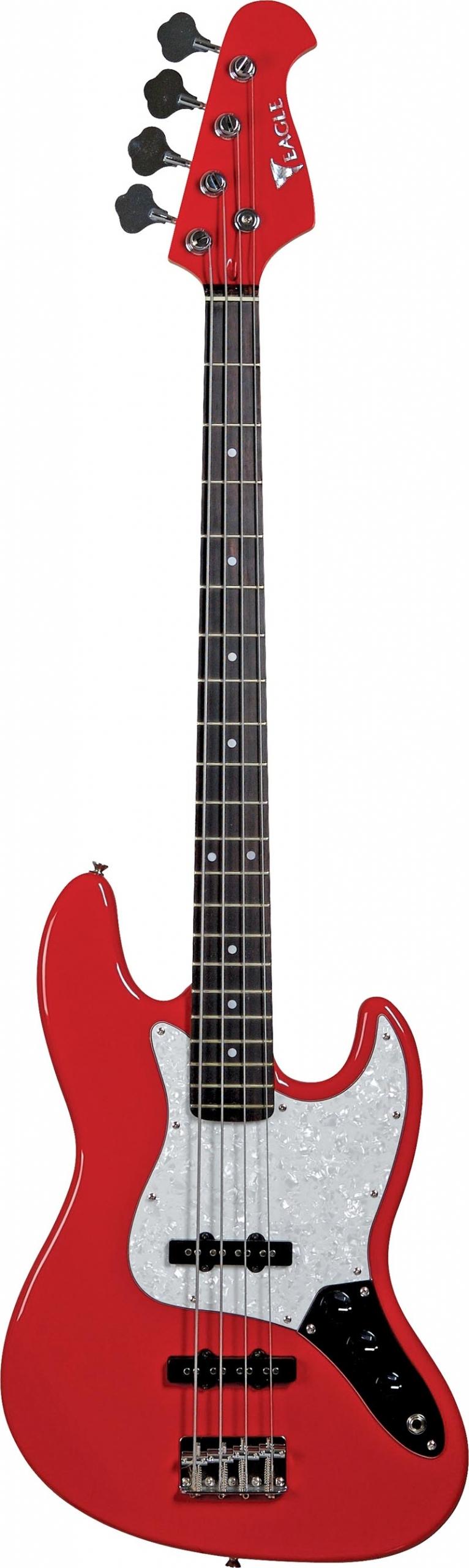 sjb005 baixo eletrico 4 cordas jazz bass eagle sjb005 rd vermelho visao frontal vertical scaled