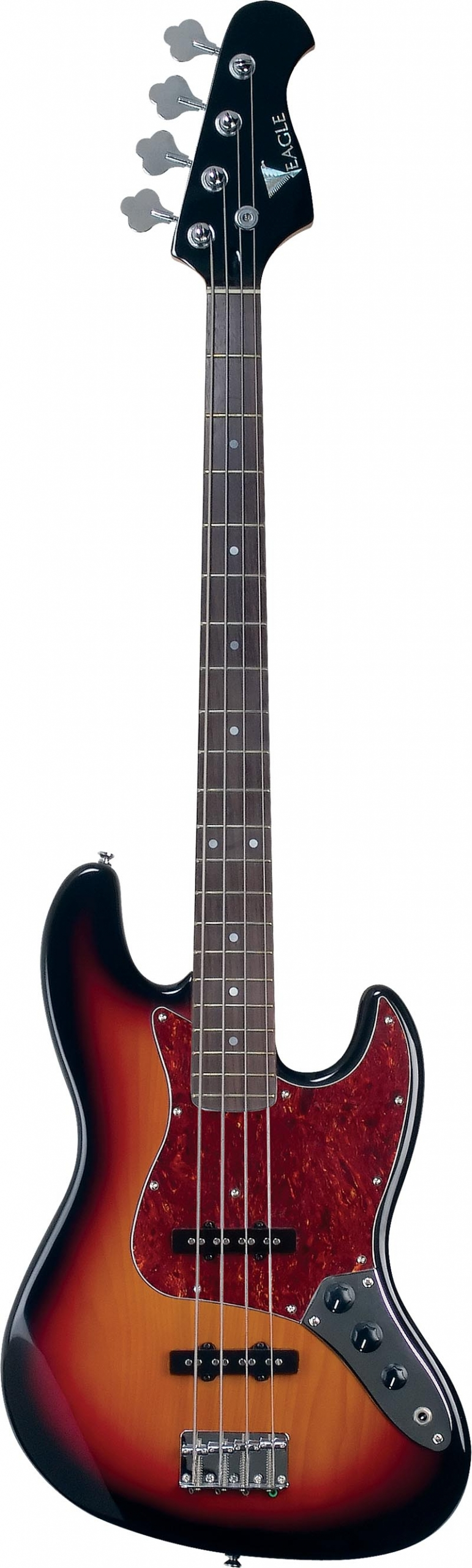 sjb006 baixo eletrico 4 cordas jazz bass eagle sjb006 sb sunburst visao frontal vertical scaled