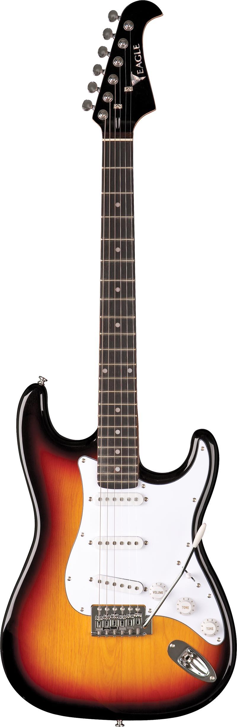sts001 guitarra eletrica stratocaster captador simgle eagle sts001 sb sunburst visao frontal vertical