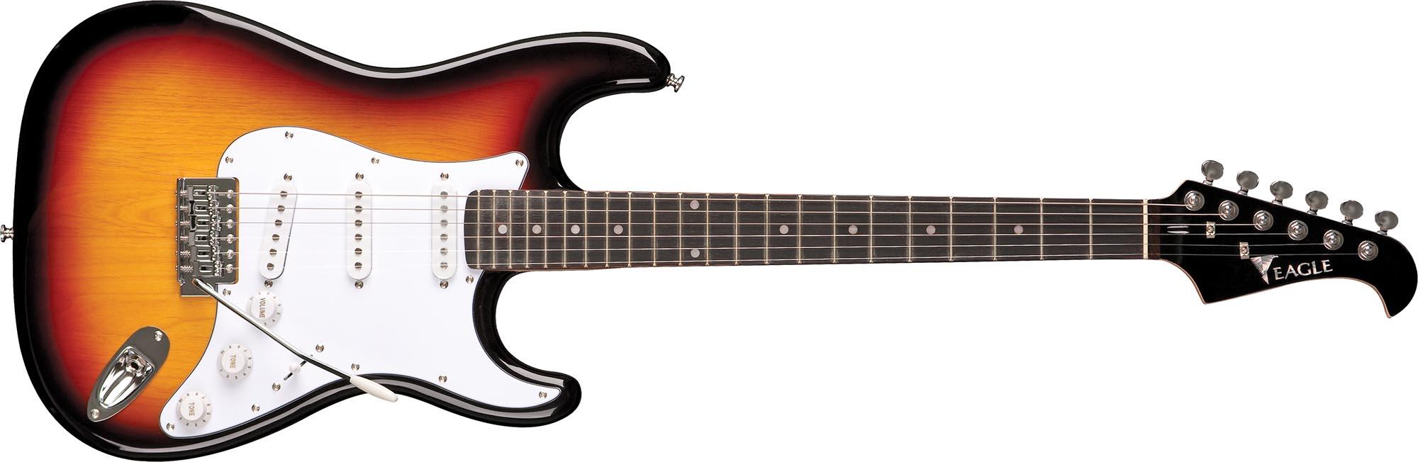 sts001 guitarra eletrica stratocaster captador simgle eagle sts001 sb sunburst visao frontal
