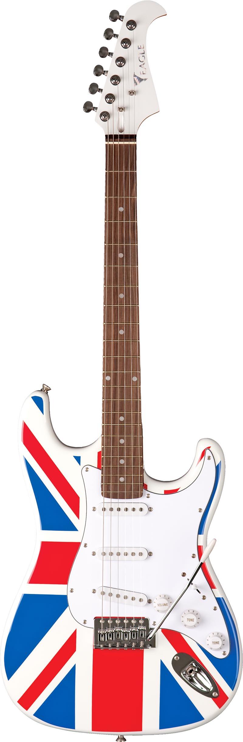 sts001 guitarra eletrica stratocaster captador simgle eagle sts001 uk bandeira reino unido visao frontal vertical