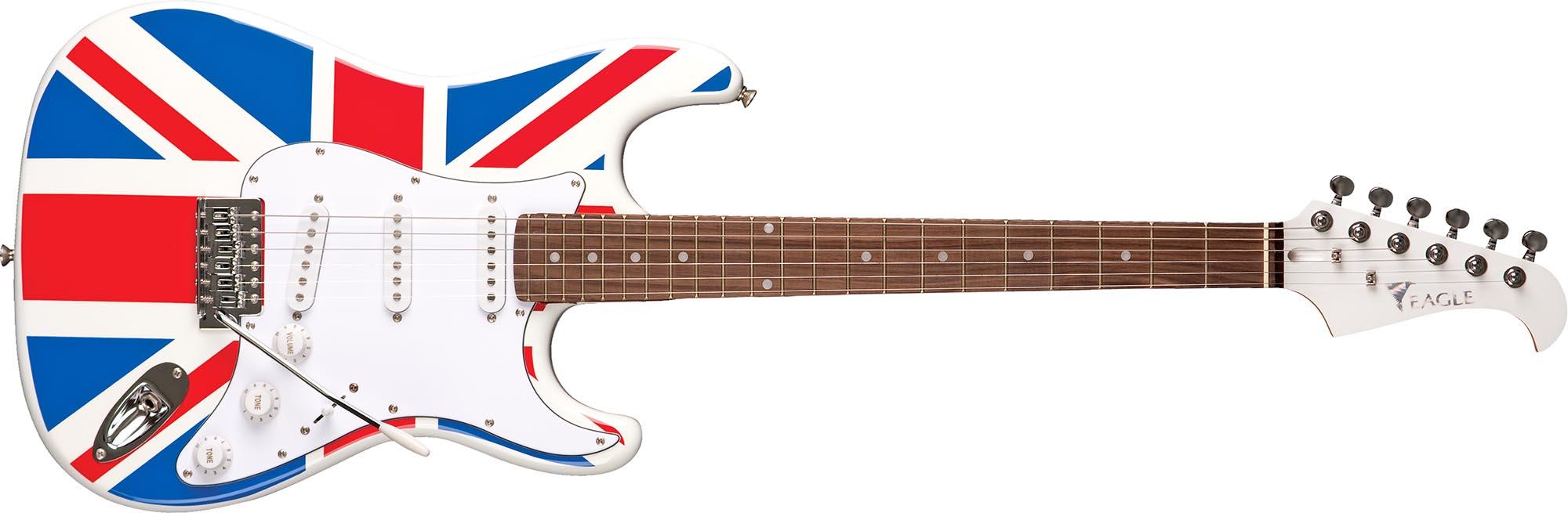 sts001 guitarra eletrica stratocaster captador simgle eagle sts001 uk bandeira reino unido visao frontal