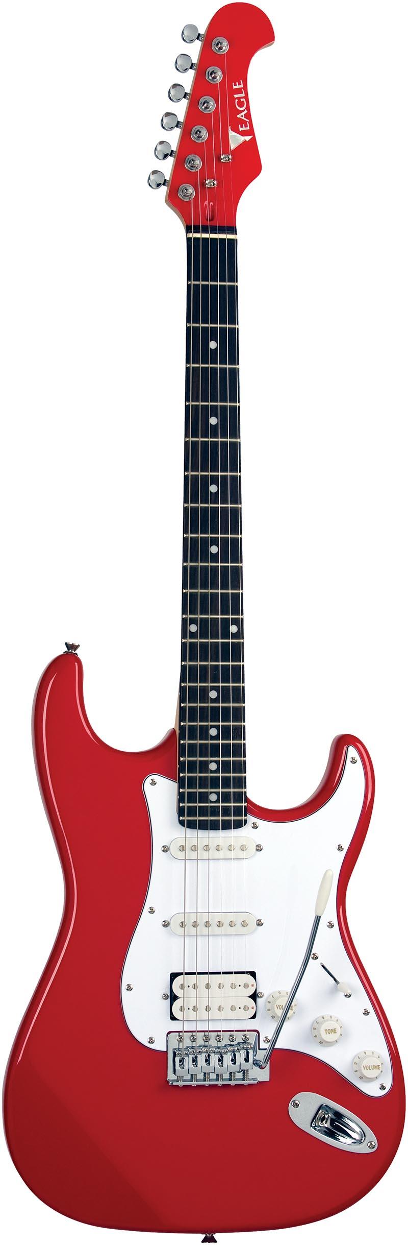 sts002 guitarra eletrica stratocaster captador humbucker eagle sts002 rd vermelho visao frontal vertical