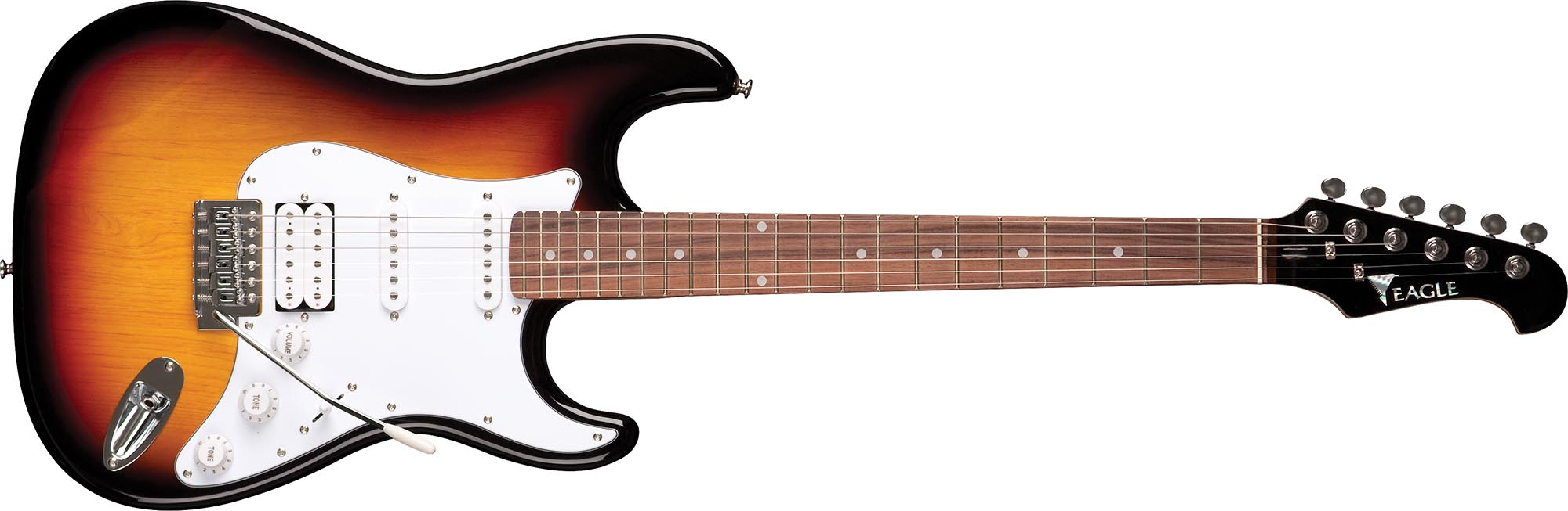 sts002 guitarra eletrica stratocaster captador humbucker eagle sts002 sb sunburst visao frontal