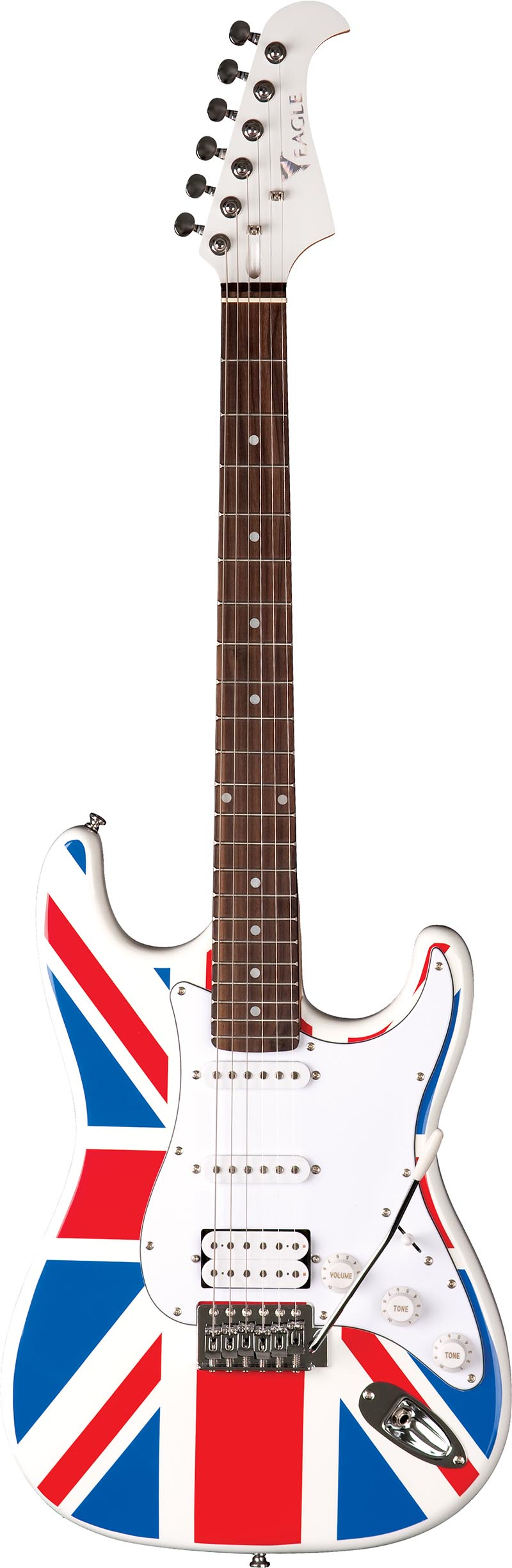 sts002 guitarra eletrica stratocaster captador humbucker eagle sts002 uk bandeira reino unido visao frontal vertical