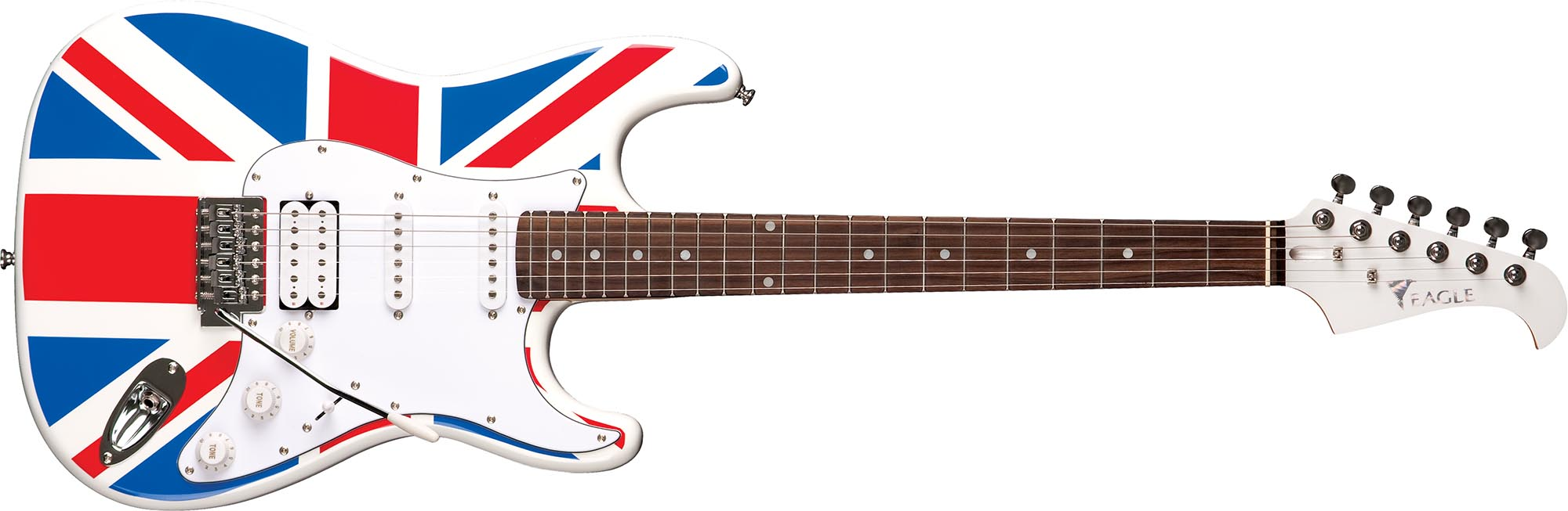 sts002 guitarra eletrica stratocaster captador humbucker eagle sts002 uk bandeira reino unido visao frontal