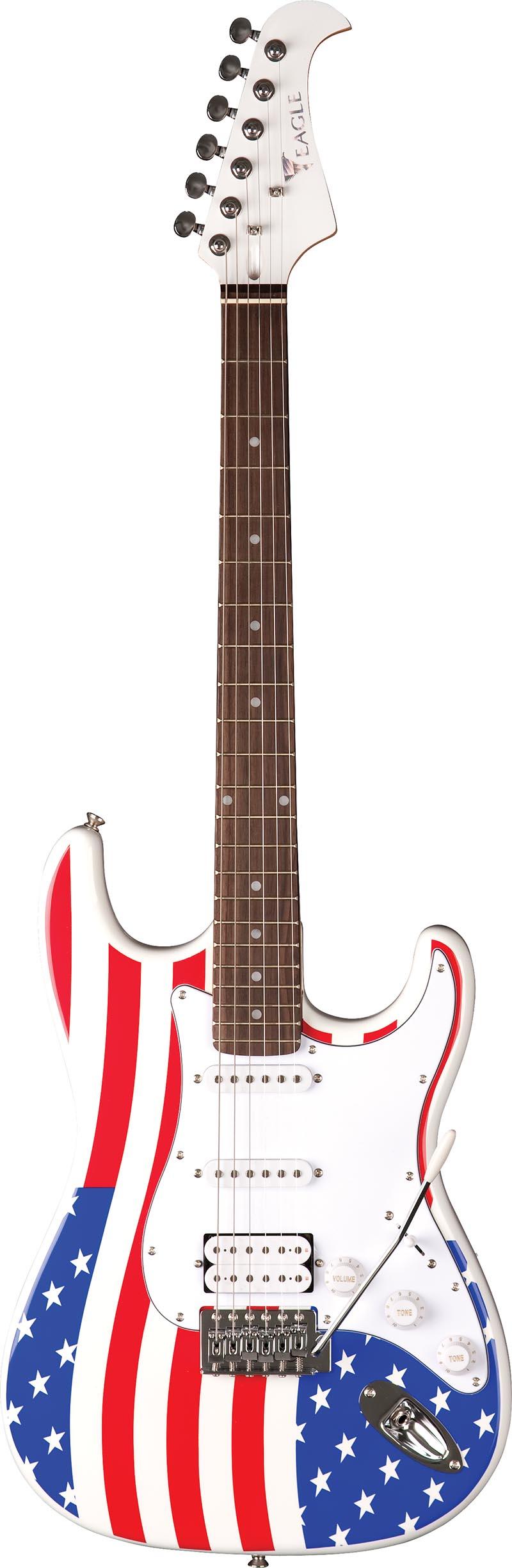 sts002 guitarra eletrica stratocaster captador humbucker eagle sts002 us bandeira americana visao frontal vertical