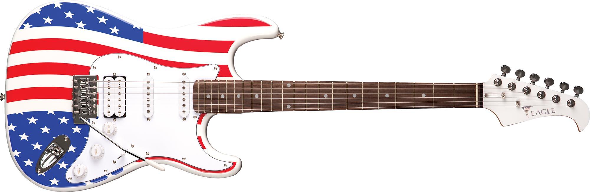 sts002 guitarra eletrica stratocaster captador humbucker eagle sts002 us bandeira americana visao frontal