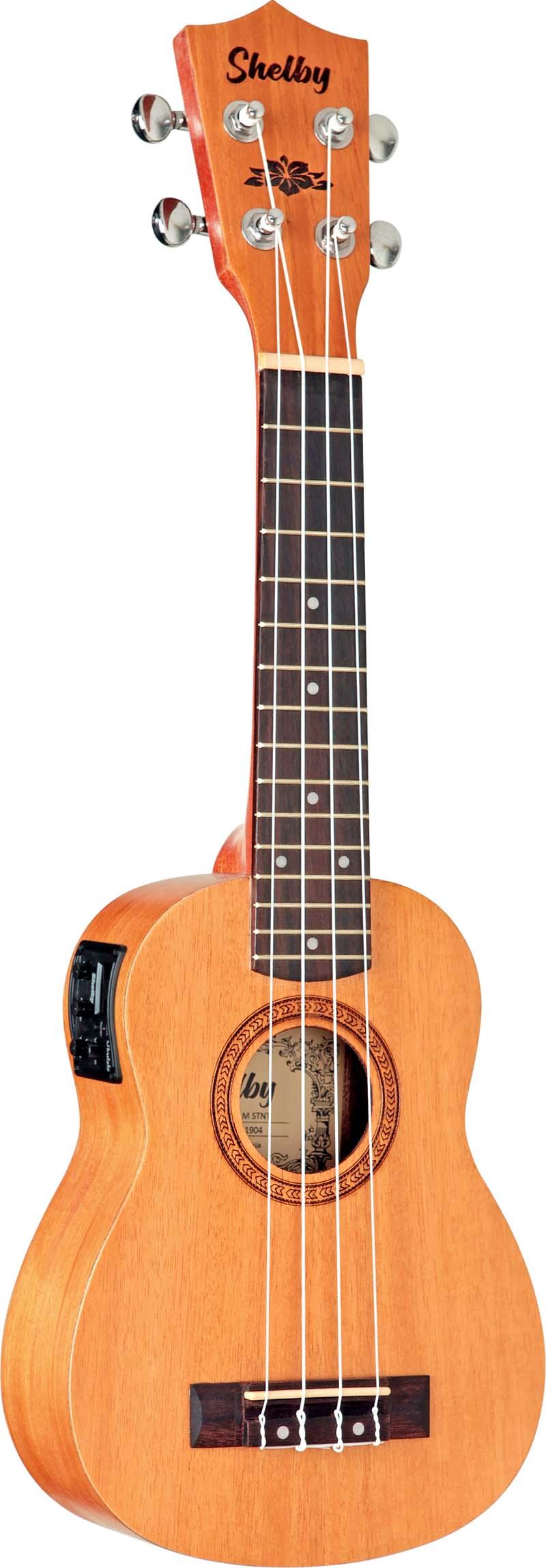 su21me ukulele soprano eletroacustico shelby su21me stnt mogno acetinado visao frontal 1