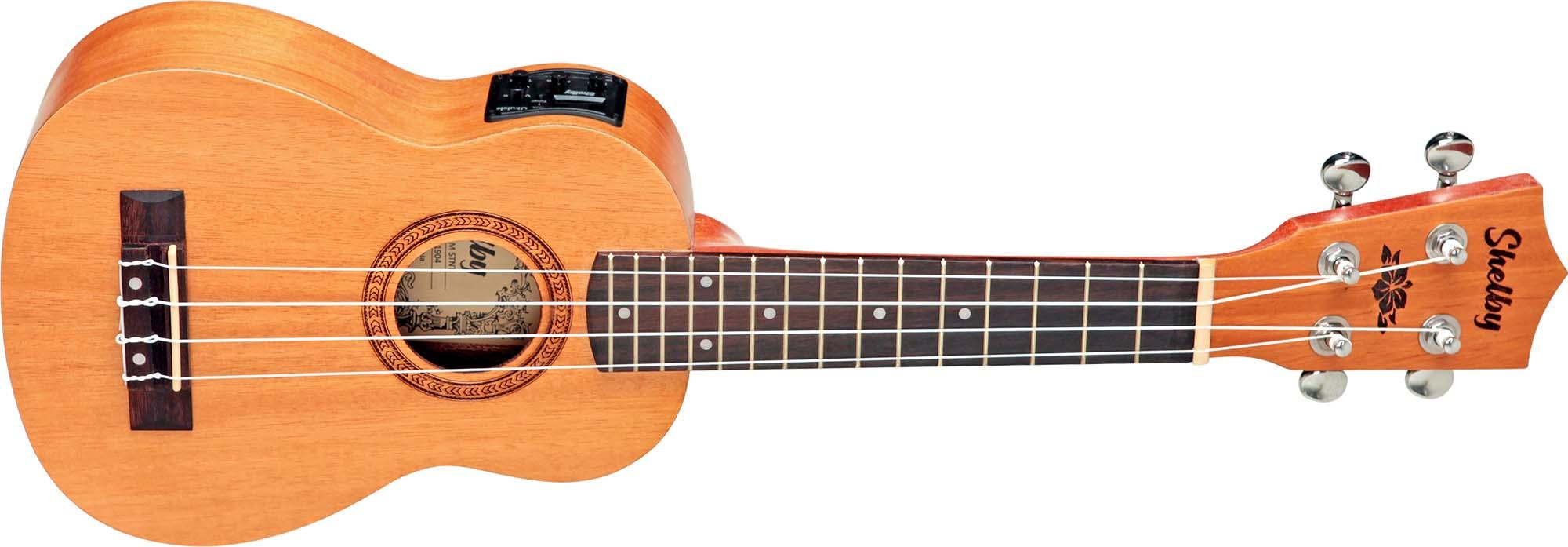 su21me ukulele soprano eletroacustico shelby su21me stnt mogno acetinado visao frontal