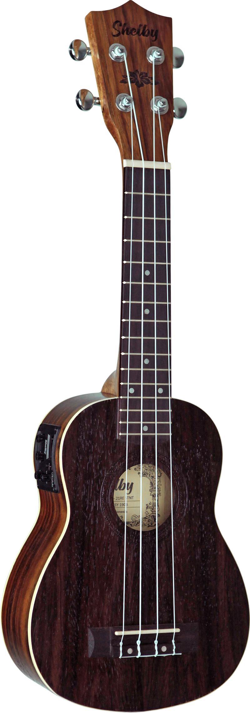 su21re ukulele soprano eletroacustico shelby su21re stnt jacaranda acetinado visao frontal vertical