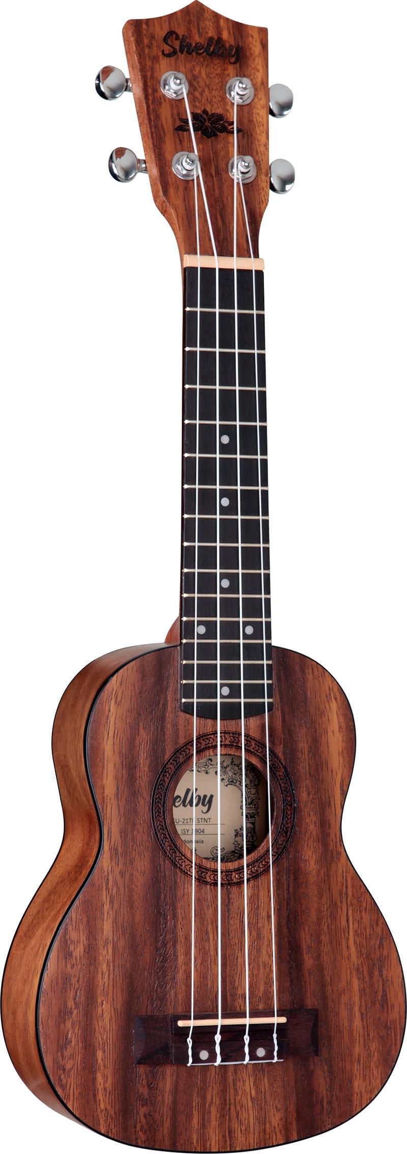 su21t ukulele soprano shelby su21t stnt teca acetinado visao frontal vertical