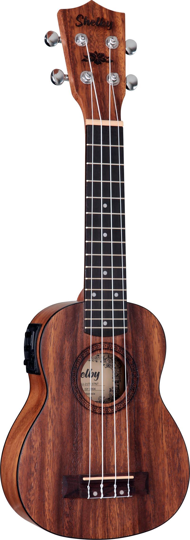 su21te ukulele soprano eletroacustico shelby su21te stnt teca acetinado visao frontal vertical