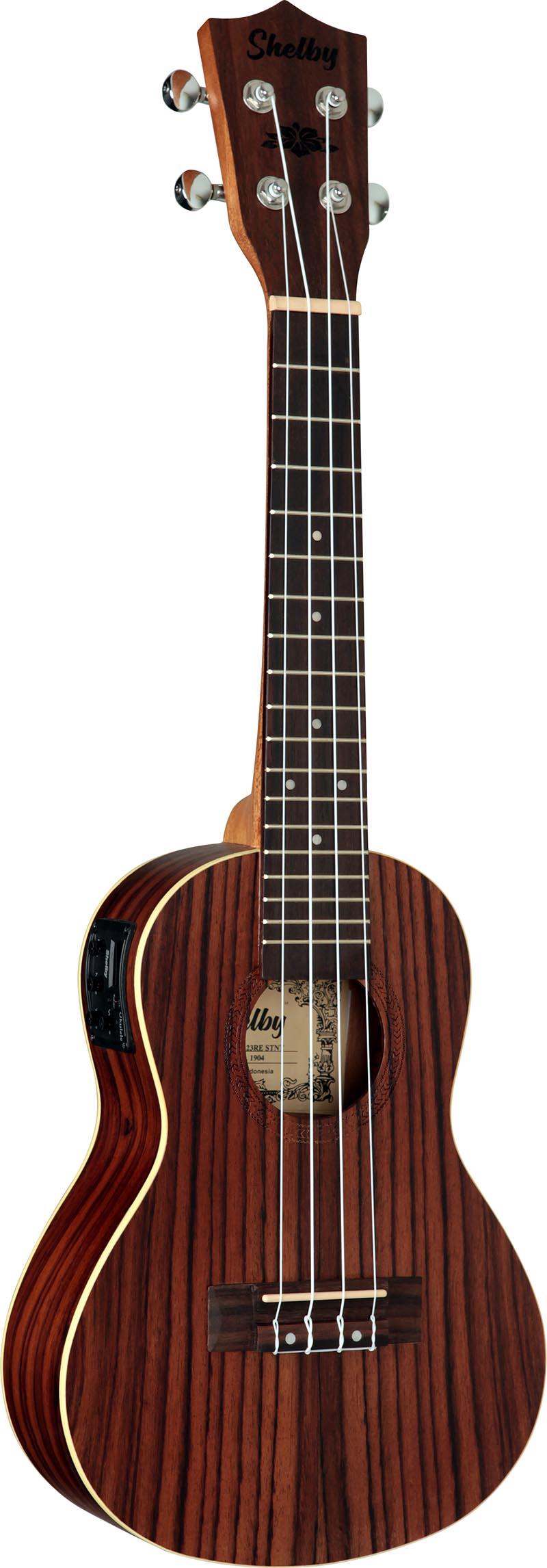 su23re ukulele concerto eletroacustico shelby su23re stnt jacaranda acetinado visao frontal vertical