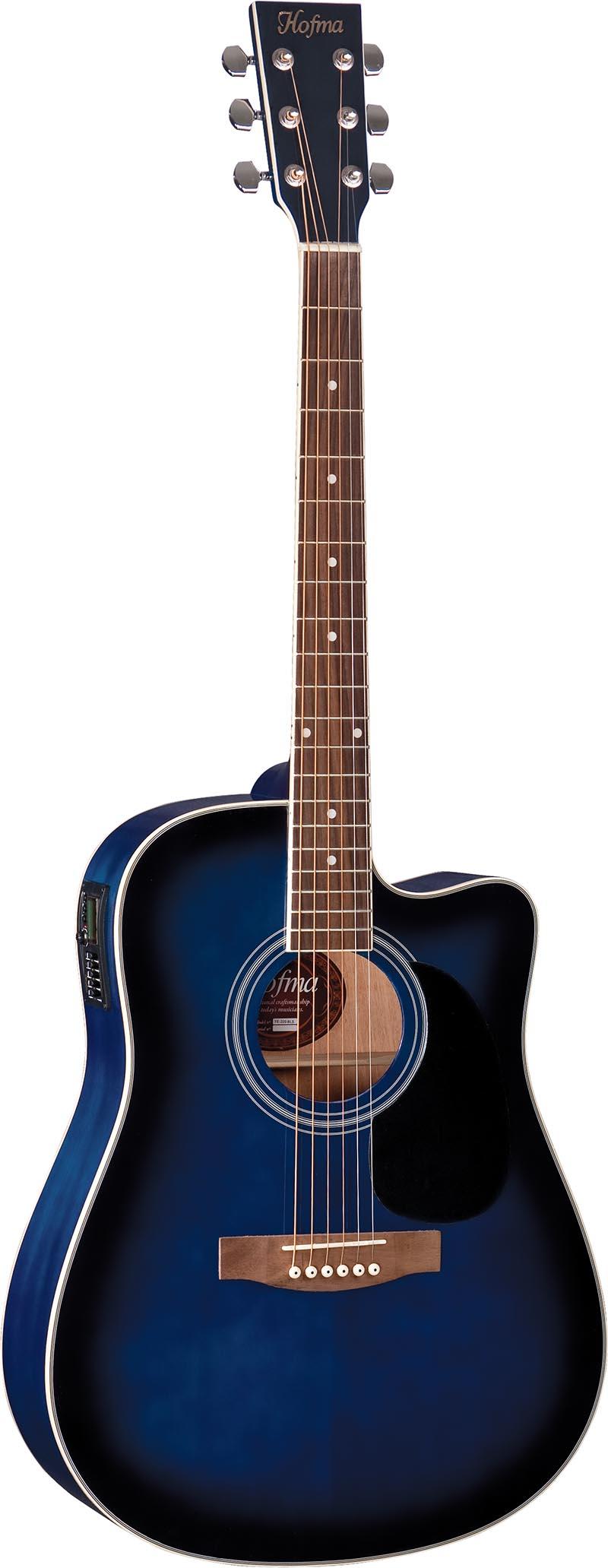 ye220 violao folk dreadnought eletroacustico hofma ye220 bls blue sunburst azul visao frontal vertical