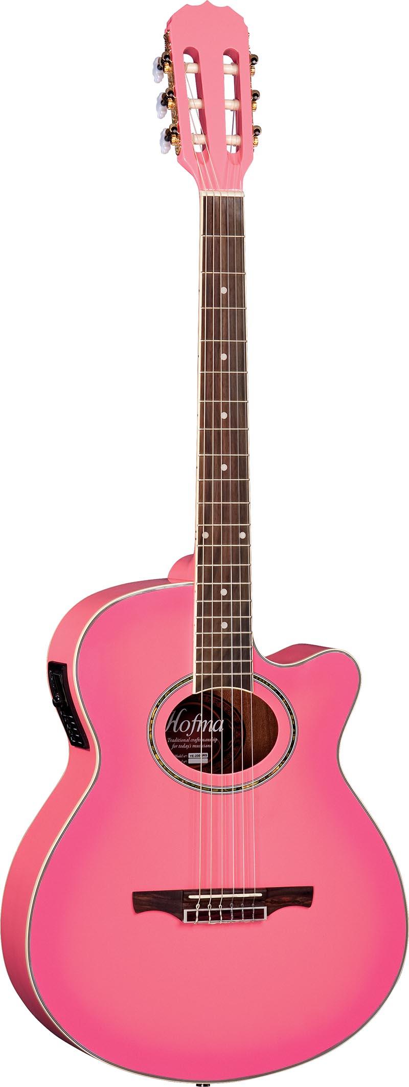 ye230 violao folk mini jumbo eletroacustico cordas de nailon ye230 srs rosa visao frontal vertical