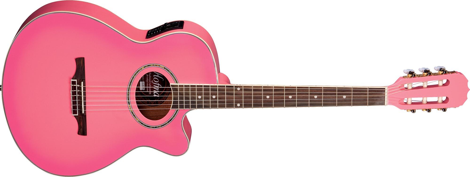 ye230 violao folk mini jumbo eletroacustico cordas de nailon ye230 srs rosa visao frontal